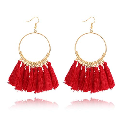 - Minestone Bohemian Handmade Tassel Earrings for Women Vintage Round Long Drop Earrings Wedding Party Bridal Fringed Jewelry Gift (Red)