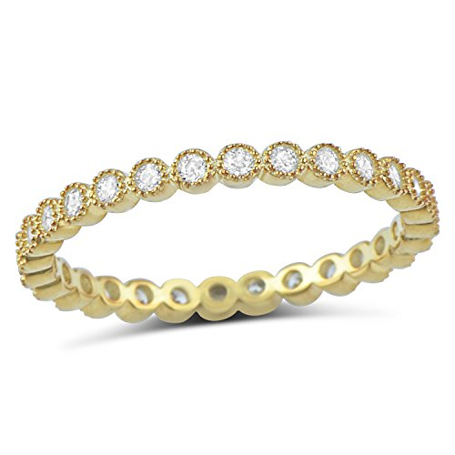 Yellow Gold Tone Sterling Silver Simulated Diamond Stackable Eternity Ring - Size 5
