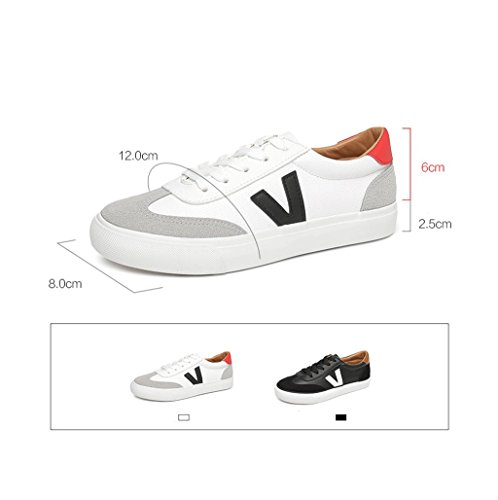 Casual and Comfortable Women Flat Shoes Breathable Low Shoes Fashion Simple Lace Sports Shoes Leather Skateboard Shoes (Color : White, Size : 38)