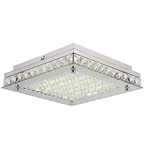 - Horisun Modern Dimmable LED Ceiling Light, Crystal Flush Mount Light Fixture with Glass Shade, 4000K 2640LM Daylight White Lighting for Living Room, Dinning Room, Bedroom, Hallway, Kitchen, ETL Listed