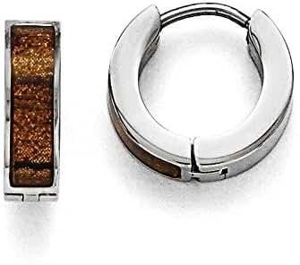 Chisel Stainless Steel Polished Brown/Black Enameled Hinged Hoop Earrings