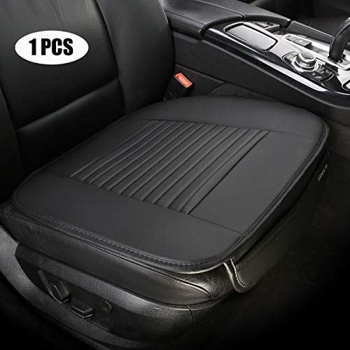 EDEALYN PU Leather Car Seat Cushion Auto Seat Covers Single Driver Seat Cover for All Sedan,1 PCS (Black-B)