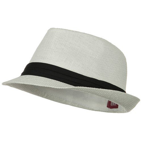 Solid Band Summer Straw Fedora - White Black S/M -