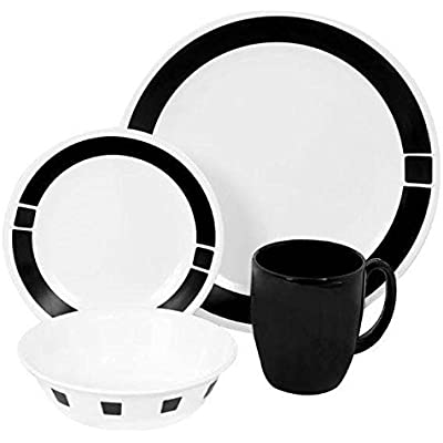 Click for Corelle Livingware 32-Piece Dinnerware Set, Urban Black, Service for 8 (Two 16-Piece Sets)