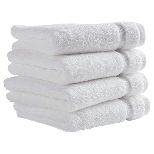Stone & Beam Classic Egyptian Cotton Washcloth Set, Set of 4, White ()