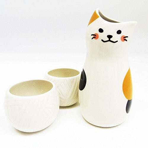 sun-art-calico-cat-sake-bottle-and-sake-cups-set-san2524-from-japan