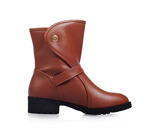 Autumn Buckle Toe Low Winter with QZUnique Ankle Casual Round for Women and Shoes Boots Brown Heel Booties cqP0Zq