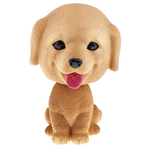 DYNWAVE Mini Resin Bobble-Head Dog Figurine Car / Home Interior Decoration Ornament, Kids Toy Gift - Golden Retriever