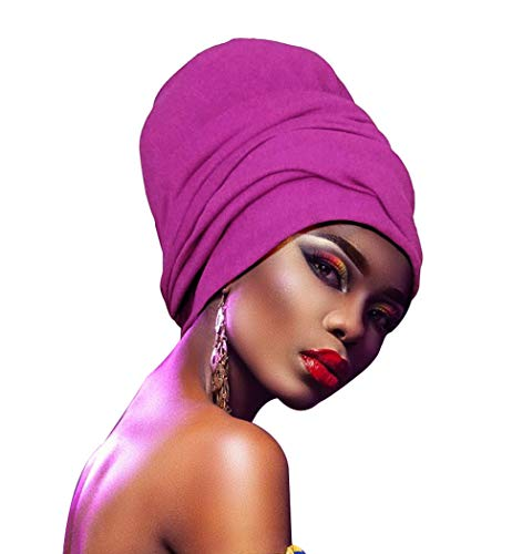 ZAKIA Soft Stretch Headband Head Wrap Long Head Scarf Turban Tie For Women (Bright purple) (Long Scarf Headband)