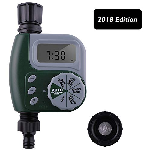 Faucet Timer Single Outlet Hose Faucet Outdoor Waterproof Digital Programmable Automatic Timer with Rain Delay and Manual Control for Garden Irrigation Timer Green