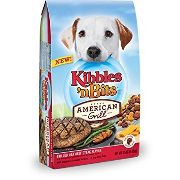 Kibbles 'n Bits American Grill Grilled USA Beef Steak Flavor Dry Dog Food, 3.5 lbs