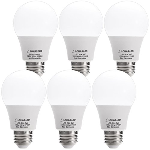 LOHAS A19 LED Light Bulbs, 6W (40Watt Equivalent), 2700K Warm (Warm White Light Bulb)