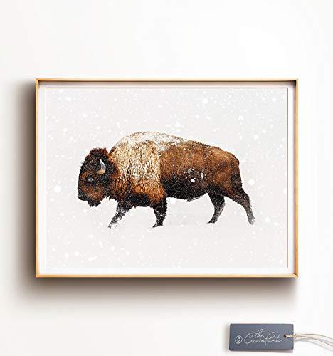 TimPrint Bison Art Buffalo Print Winter Decor Southwestern Decor Animal Print Animal Photography Farmhouse Wall Art Nature Framed Print Wall Art