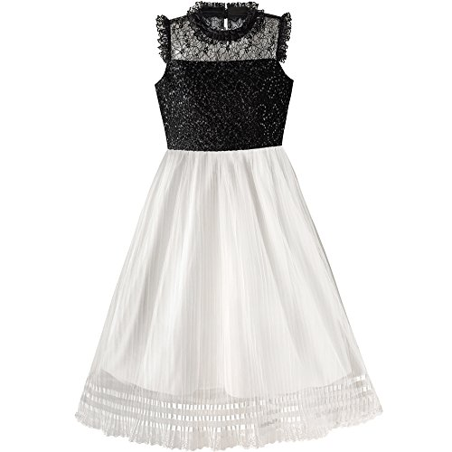 Skirt Pleated Sequin White (Sunny Fashion LX85 Girls Dress White and Black Pleated Skirt Lace Sequin Size 12)