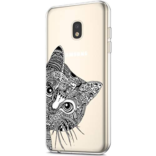 Price comparison product image ikasus Case for Galaxy J7 2018, Clear Art Panited Pattern Design Soft & Flexible TPU Ultra-Thin Transparent Flexible Soft Rubber Gel TPU Protective Case Cover for Galaxy J7 (J737) 2018, Black cat
