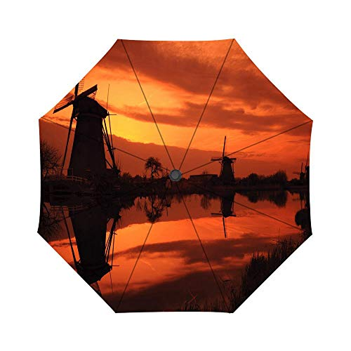 Travel Umbrella Auto Open Compact Folding Sun & Rain Protection Umbrella with UV Protection Windproof - Mills Red Sunset (Mill Stroller Red)