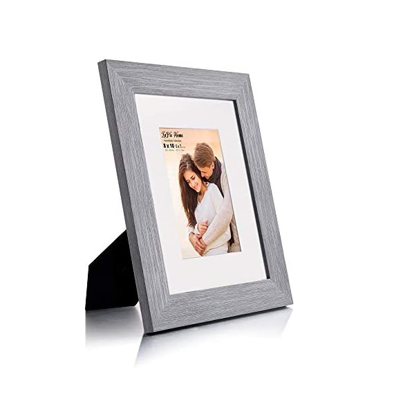 LaVie Home 8x10 Picture Frames (3 Packs, Gray) with Flat Mat for 5x7 Photo and High Definition Glass, for Wall Mount & Tabletop Display, Set of 3 Serendipity Collection - ELEGANT DESIGN - LaVie Home 8 x 10 picture frame is designed with a wide frame, slightly woodgrain pressing process makes it comparable with the solid wood frame. It looks bright and tasteful, fits any decor,whether it's modern or vintage. HIGHEST QUALITY - Crafted by Durable PS (acrylic-resin) molding construction, clean lines with attractively artificial wood texture finished. Every frame made with perfect attention to details. WALL MOUNT or TABLE TOP - Includes hanger hooks to easily hang artwork or photographs in either portrait or landscape orientation. Versatile kickstand easel lets you display horizontally or vertically to fit in the space available. - picture-frames, bedroom-decor, bedroom - 41qzvZqq2OL. SS570  -