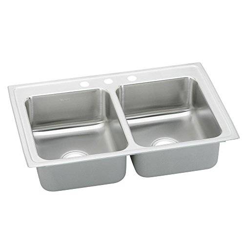 Elkay Lustertone LR29183 Equal Double Bowl Top Mount Stainless Steel Kitchen (Elkay Lustertone Double Bowl Sink)