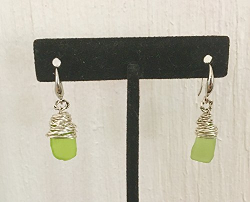 Authentic, real, genuine, untouched rare chartreuse green sea glass earrings wire wrapped with sterling silver wire and twisted sterling silver wire r…