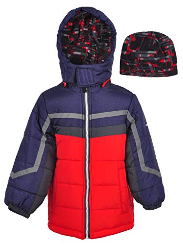 London Fog Boys' Toddler Active Heavyweight Jacket with Ski Cap, Super red, 3T