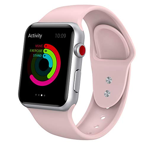 Large Product Image of Yimzen Soft Silicone Sport iWatch Band Strap for Apple Watch Series 3 2 1 Sport and Edition, 38mm, Small/Medium, Pink Sand