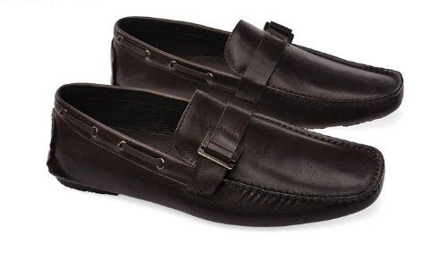 Happyshop (tm) Mens Chaussures Occasionnelles Vache Cuir Mocassin Chaussures De Conduite Confort Slip-on Penny Mocassins Brun Foncé