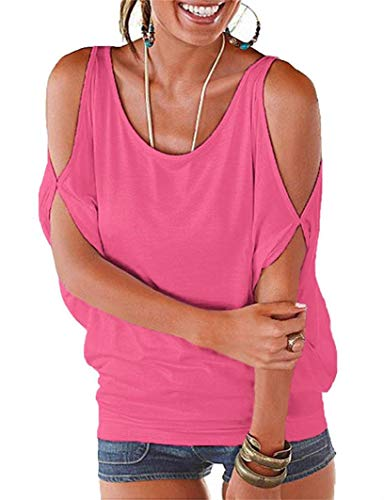 Miselon Cutout Shirts Ruched Loosing Hollowed Shoulder Tops (XXL, Pink) ()