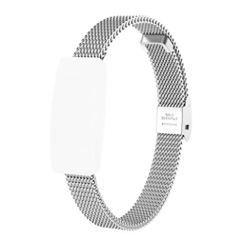 (Tiean Milanese Magnetic Wrist Strap Stainless Steel Mesh Replacement Watch Band + Film for Fitbit Inspire/Inspire HR (Silver))