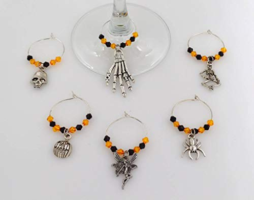 Halloween Wine Glass Charms with Orange and Black Beads - 6 Piece Cocktail Drink Charm Set in Black Velour Gift -