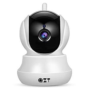 Cámara IP, Cámara de Vigilancia QZT 720P Wifi con Visión Nocturna, Audio Bidireccional, Giro / Inclinación, Detección de Movimiento, Alarma Email, Cámara de Seguridad