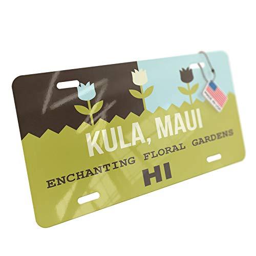 NEONBLOND US Gardens Kula, Maui Enchanting Floral Gardens - HI Aluminum License Plate