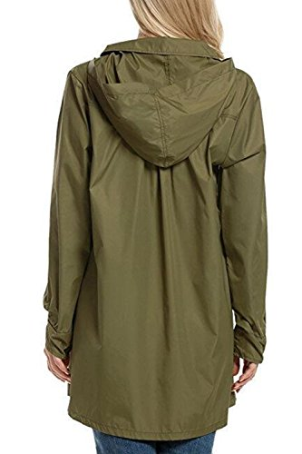 Impermeable Boton Abajo Mujer Hodded Casual Abrigo Verde La PYwqF4