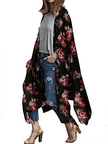 Kimono Duster - casuress Women's Sheer Chiffon Blouse Tops Kimono Cardigan Floral Loose Cover Ups Outwear Plus Size