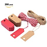 200 PCS Kraft Paper Gift Tags, EKKONG Kraft Paper Tags with 200 Feet Natural Jute Twine - for Wedding, Birthday and Christmas