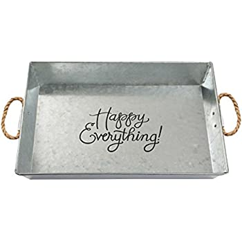 Brownlow Kitchen Happy Everything Large Galvanized Metal Serving Tray