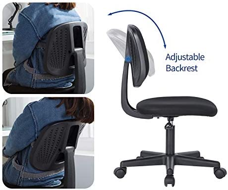 Novelland Ergonomic Adjustable Back Office Swivel Task Chair, Breathable Mesh Desk Chair With Lumbar Support Swivel Rolling Executive Adjustable Task Chair For Student Kids Study