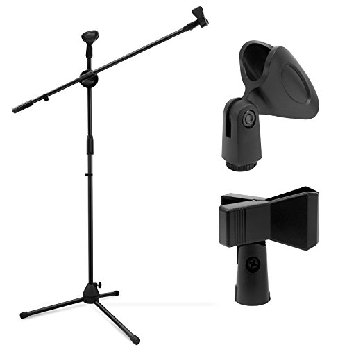 (Microphone Stand, Ohuhu Tripod Boom Mic Stands with 2 Mic Clip Holders, Adjustable, Collapsible, Black)