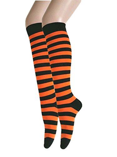 Triple M Plus Knee High Zebra Stripes 2 PairsSocks,Black/Orange from Triple M Plus