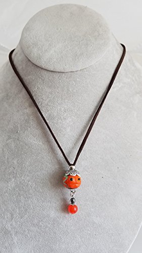 Pumpkin Lampwork Bead & Vintage Glass Faux Leather Necklace