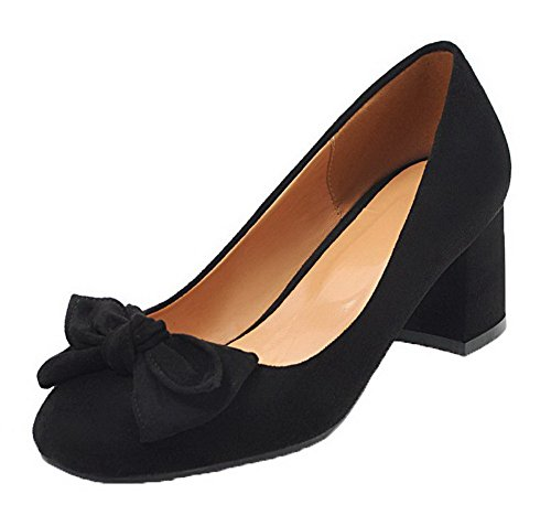 Odomolor Women's Closed-Toe Kitten-Heels Frosted Solid Pull-On Pumps-Shoes Black Uzi0s