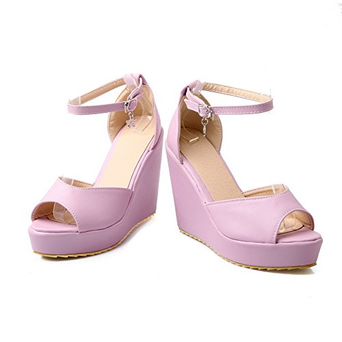 AllhqFashion Women's High-Heels Soft Material Buckle Platforms & Wedges with Wrist Strap Purple RVQVkXj2S5