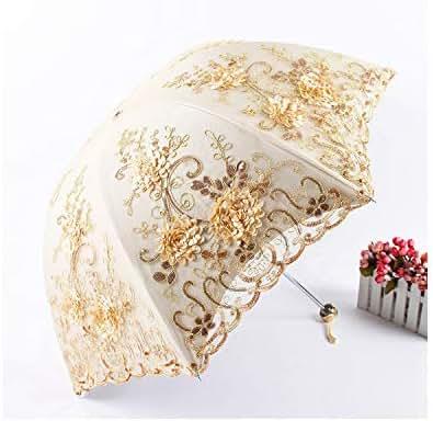 Embroidery Lace Umbrella Three Folding Coating Anti Uv Parasol Women Flower Umbrellas Rainy Sunshade,As Picture