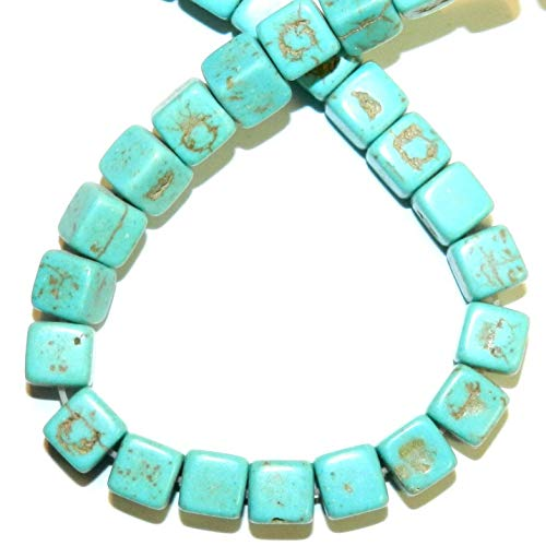 Blue-Green Turquoise 7mm Square Cube Magnesite Gemstone Beads 15#ID-560 (Cube Beads Turquoise Yellow)