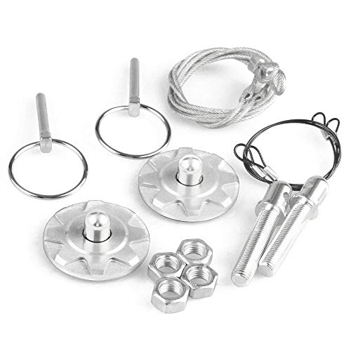 - Cacys-Store - Universal CNC Billet Aluminum Racing Hood Pin Appearance Kit Chrome Silver