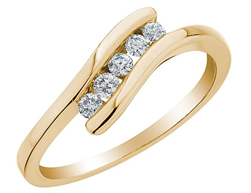Journey Diamond Fashion Ring - Diamond Journey Promise Ring 1/5 Carat (ctw) in 10K Yellow Gold