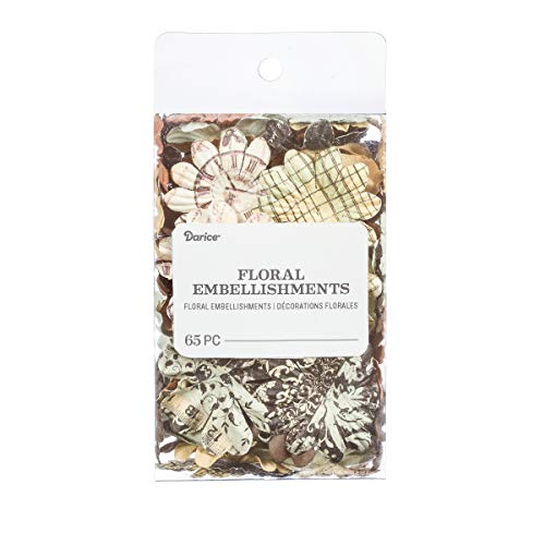 Darice 30062041 Printed Petal Floral Embellishments: 65 Pack, Assorted