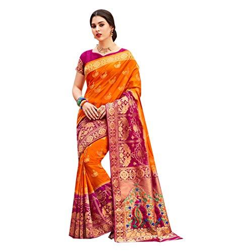 5fc8ce60f7 Orange Indian Ethnic Designer Silk Saree for Women Wedding Party wear Sari  with Blouse piece 8054