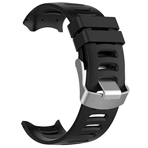 Compatible for Garmin Forerunner 610 Replacement Band, AWADUO Replacement Silicone Wrist Band Strap for Garmin Forerunner 610 GPS Watch, Soft and Durable (Silicone Black)