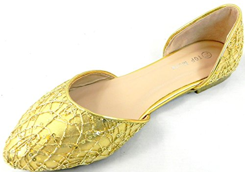 Womens Black Silver Gold New Fashion Lace Mesh Evening Party Wear Pumps Flat Shoes Gold f0oyhIBg