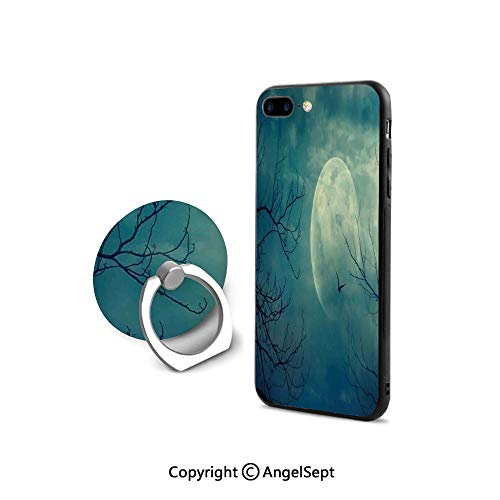 Protective Case for iPhone 8/iPhone 7 with Ring Holder Kickstand,Halloween with Full Moon in Sky and Dead Tree Branches Evil Haunted Forest,Cushion Protective Cute Case,Blue -